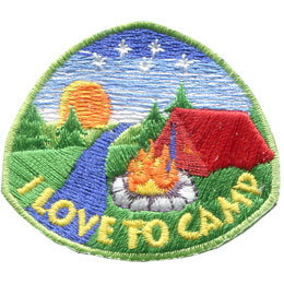 Camp, Love, Tent, Campfire, Creek, Stream, Patch, Embroidered Patch, Merit Badge, Badge, Emblem, Iron On, Iron-On, Crest, Lapel Pin, Insignia, Girl Scouts, Boy Scouts, Girl Guides