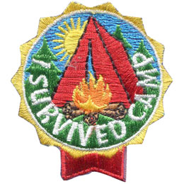 Camp, Tent, Survive, Campfire, Sun, Tree, Patch, Embroidered Patch, Merit Badge, Badge, Emblem, Iron On, Iron-On, Crest, Lapel Pin, Insignia, Girl Scouts, Boy Scouts, Girl Guides
