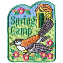 Spring, Camp, Blue Jay, Bird, Outhouse, Out House, Biffy, Toilet, Patch, Embroidered Patch, Merit Badge, Badge, Emblem, Iron On, Iron-On, Crest, Lapel Pin, Insignia, Girl Scouts, Girl Guides
