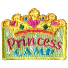 Princess, Camp, Crown, Jewel, Spark, Heart, Patch, Embroidered Patch, Merit Badge, Badge, Emblem, Iron On, Iron-On, Crest, Lapel Pin, Insignia, Girl Scouts, Boy Scouts, Girl Guides