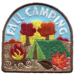 Fall, Camping, Leaf, Tent, Fire, Trees, Sun, Autumn, Patch, Embroidered Patch, Merit Badge, Badge, Emblem, Iron On, Iron-On, Crest, Lapel Pin, Insignia, Girl Scouts, Boy Scouts, Girl Guides