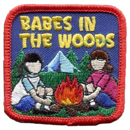Babes, Woods, Chicks, Girls, Lady, Ladies, Camp, Tent, Fire, Patch, Embroidered Patch, Merit Badge, Badge, Emblem, Iron On, Iron-On, Crest, Lapel Pin, Insignia, Girl Scouts, Boy Scouts, Girl Guides