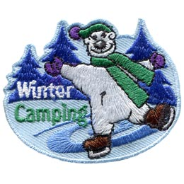 Bear, Winter, Camping, Snow, Tent, Patch, Embroidered Patch, Merit Badge, Badge, Emblem, Iron On, Iron-On, Crest, Lapel Pin, Insignia, Girl Scouts, Boy Scouts, Girl Guides