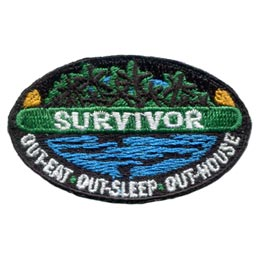 Survivor, Eat, Sleep, House, Camping, Lake, Forest, Patch, Embroidered Patch, Merit Badge, Badge, Emblem, Iron On, Iron-On, Crest, Lapel Pin, Insignia, Girl Scouts, Boy Scouts, Girl Guides