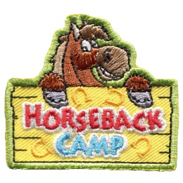 Horseback, Camp, Riding, Western, English, Jumping, Patch, Embroidered Patch, Merit Badge, Badge, Emblem, Iron On, Iron-On, Crest, Lapel Pin, Insignia, Girl Scouts, Boy Scouts, Girl Guides