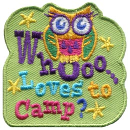 A wide eyed and colourful owl sits on the 'o' of the embroidered text 'Whooo Loves to Camp?' and is surrounded by the stars of the night sky.