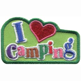This green patch has the letter ''I'' next to a red heart and below both is the word ''camping.''