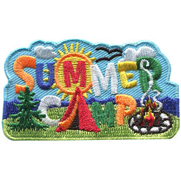 This patch shows a scenic, outdoor view with the words 'Summer Camp.' 'Summer' is written in a blue sky with the 'M' inside a bright yellow sun. The 'A' in 'Camp' is a tent placed on a grassy green hill.