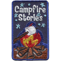 A willow stick holds a marshmallow over a roaring campfire. The background is the dark blue of the night sky speckled with stars.