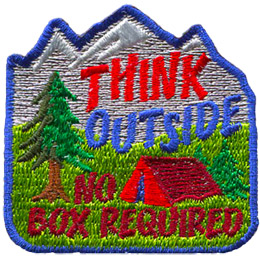 A single tent camps on a field of green. A single tree stands to the left of the tent and a three-peaked mountain rises in the background. The words \'Think Outside\' are embroidered above the tent and \'No Box Required\' are stitched below.