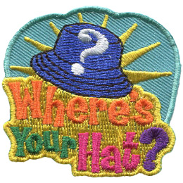 A wide-brim, blue hat has a question mark on it. Behind the hat is a bright yellow starburst. Under the hat is the text 'Where's Your Hat?'