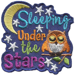 An owl sleeps with its wings slightly open on a branch with two leaves. The text \'Sleeping Under The Stars\' is stacked to the owl\'s left. A crescent moon curves around the word \'Sleeping\' and stars are scattered throughout the background.