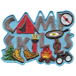 The words \'Camp Skills\' are stacked on top of each other. The \'A\' in camp is a tent, the \'M\' is two mountains, the \'p\' is a compass, the \'K\' wears hiking boots, and the \'I\' is a flashlight.