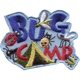 The words 'Bug Camp' are stacked on top of each other. A green tent forms the 'A' in 'Camp'. Crawling all over this patch is a ladybug, a fly, an ant, a tick, a mosquito, and a flee.