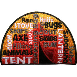 This square patch is filled with words going every which direction with a tent in the background. The most prominent say \'Tent\', \'Sleeping Bag\', \'Lantern\', and \'Outdoors\'.