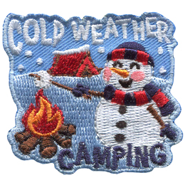 A snowman is roasting a marshmallow over a campfire. On the snowy field behind him is a red, snow-covered tent. Text at the top of the badge reads \'Cold Weather\' and at the bottom is \'Camping\'.