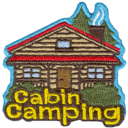 A log cabin with three windows, a door, and a porch has two spruce trees peeking out from the top right. Two bushes rest in front of the cabin with the words Cabin Camping overlapped.