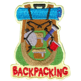 The back of a backpack is displayed bulging with items such as a bedroll, water canteen, flashlight, and cup.