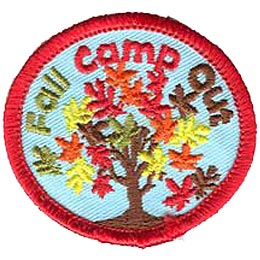 Fall Camp Out, Tree, Leaves, Camping, Patch, Embroidered Patch, Merit Badge, Crest, Girl Scouts, Boy Scouts, Girl Guides