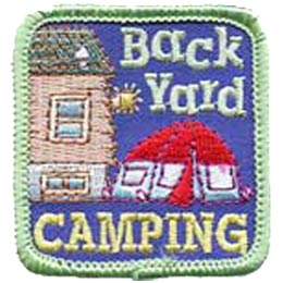 Back Yard Camping, Tent, Moon, Star, Patch, Embroidered Patch, Merit Badge, Crest, Girl Scouts, Boy Scouts, Girl Guides