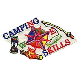 This patch is shaped like a white piece of paper that is lain flat. The word Camping is embroidered at the top with the N in the word representing North. On the right of the paper is a big E representing East, along with a fishing rod and a hooked fish. On the bottom is the word Skills with the first S representing South. A flaming log sits in the South West corner. On the left side of the paper is a big W representing West as well as a lantern. A eight star compass rose sits in the center of the page.