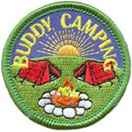 Buddy, Camping, Camp, Tent, Sun, Campfire, Friend, Patch, Embroidered Patch, Merit Badge, Badge, Emblem, Iron On, Iron-On, Crest, Lapel Pin, Insignia, Girl Scouts, Boy Scouts, Girl Guides