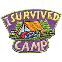 Trees surround a bright orange tent while two bed rolls and a lantern lay in front of it. The words I Survived are embroidered above the image and the word Camp bellow.