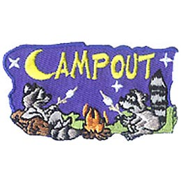 Campout, Raccoon, Animal, Camping, Campfire, Stars, Patch, Embroidered Patch, Merit Badge, Crest, Girl Scouts, Boy Scouts, Girl Guides