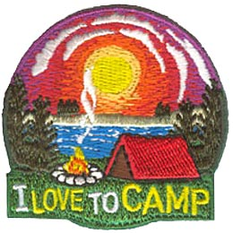 Camp, Girl, Love, Hike, Sun, Tent, Campfire, Lake, Tree, Patch, Embroidered Patch, Merit Badge, Iron On, Iron-On, Crest, Girl Scouts, Boy Scouts, Girl