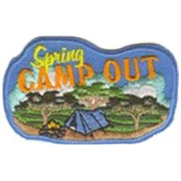 Spring, Camp, Out, Tent, Fire, Woods, Patch, Embroidered Patch, Merit Badge, Badge, Emblem, Iron On, Iron-On, Crest, Lapel Pin, Insignia, Girl Scouts, Boy Scouts, Girl Guides