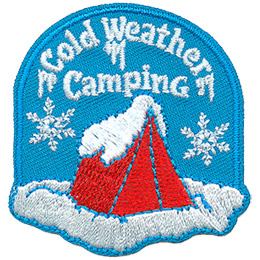 A single red tent is buried under a dump of fresh snow. Two large snowflakes, one standing on either side of the tent, drift down from the icicle covered words that say 'Cold Weather Camping.'