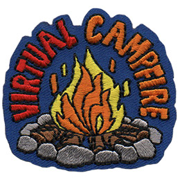 A blazing campfire within a rock circle is displayed on this crest. The words Virtual Campfire arch over the flames.
