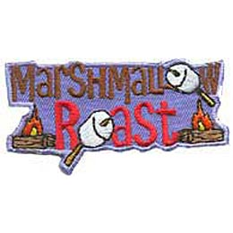 The words \'\'Marshmallow Roast\'\' dominate this patch and each O in the lettering has been replaced by a marshmallow skewered on a stick. A campfire rests on either side of \'\'Roast,\'\' one on the left and one on the right.