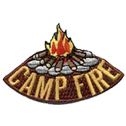 A blazing campfire rests on a tee-pee of logs, secure among a circle of stone. The words \'\'Camp Fire\'\' are embroidered underneath the campfire image.