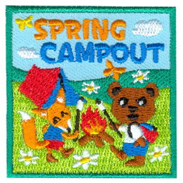 Two kids, a bear and a fox, roast marshmallows over a campfire. A tent rests behind them in an open meadow with flowers and butterflies.