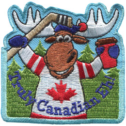 A male moose is dressed in a Canada hockey jersey with a hockey stick in his right hand and a cup of coffee in his left. The text below says, 'Truly Canadian Eh!'