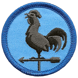 A metal rooster sits on an arrow and swivel forming a weather vane. This round patch has a blue background an a dark blue merrow border.