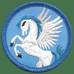 A beautiful pegasus rears up and unfurls its majestic wings.