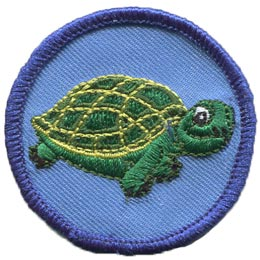 Turtle, Patrol, Slow, Race, Green, Patch, Embroidered Patch, Merit Badge, Badge, Emblem, Iron On, Iron-On, Crest, Lapel Pin, Insignia, Girl Scouts, Boy Scouts, Girl Guides