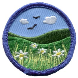Meadow, Field, Hill, Grass, Flower, Bird, Circle, Patch, Embroidered Patch, Merit Badge, Badge, Emblem, Iron On, Iron-On, Crest, Lapel Pin, Insignia, Girl Scouts, Boy Scouts, Girl Guides