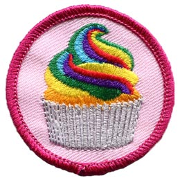 Cupcake, Rainbow, Dessert, Circle, Patch, Embroidered Patch, Merit Badge, Badge, Emblem, Iron On, Iron-On, Crest, Lapel Pin, Insignia, Girl Scouts, Boy Scouts, Girl Guides