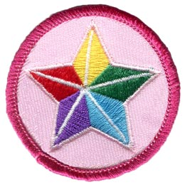 Star, Rainbow, Red, Green, Purple, Blue, Yellow, Circle, Patch, Embroidered Patch, Merit Badge, Badge, Emblem, Iron On, Iron-On, Crest, Lapel Pin, Insignia, Girl Scouts, Boy Scouts, Girl Guides