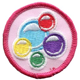 Bubbles, Rainbow, Colour, Circle, Patrol, Badge, Patch, Embroidered Patch, Merit Badge, Badge, Emblem, Iron On, Iron-On, Crest, Lapel Pin, Insignia, Girl Scouts, Boy Scouts, Girl Guides
