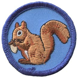 Squirrel, Nut, Animal, Patch, Embroidered Patch, Merit Badge, Badge, Emblem, Iron On, Iron-On, Crest, Lapel Pin, Insignia, Girl Scouts, Boy Scouts, Girl Guides