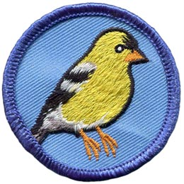 This circular patch displays a vibrant yellow goldfinch, a small finch, with a striking black cap and white rump.