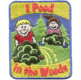 Pee, Tree, Bush, Wood, Camp, Patch, Embroidered Patch, Merit Badge, Badge, Emblem, Iron On, Iron-On, Crest, Lapel Pin, Insignia, Girl Scouts, Boy Scouts, Girl Guides