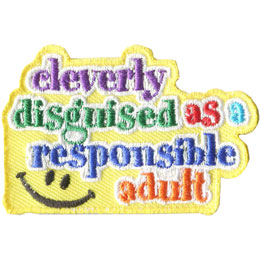 Clever, Adult, Smile, Happy, Face, Happy Face, Patch, Embroidered Patch, Merit Badge, Badge, Emblem, Iron On, Iron-On, Crest, Lapel Pin, Insignia, Girl Scouts, Boy Scouts, Girl Guides
