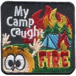 Camp, Caught, Fire, Tent, Embroidered Patch, Merit Badge, Badge, Emblem, Iron On, Iron-On, Crest, Lapel Pin, Insignia, Girl Scouts, Boy Scouts, Girl Guides