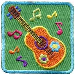 Musical, Leader, Song, Note, Guitar, Flower, Patch, Embroidered Patch, Merit Badge, Badge, Emblem, Iron On, Iron-On, Crest, Lapel Pin, Insignia, Girl Scouts, Boy Scouts, Girl Guides