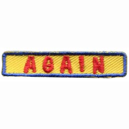 Yellow rectangle with a blue border and red text that says, ''Again''.
